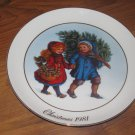 1981 Avon Sharing The Christmas Spirit Christmas Plate Trimmed in 22 Carat Gold
