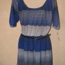 New Womens Sz M Trixxi Short Sleeve Royal/Grey Knit Dress