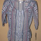 New Womens Sz S Hannah Petite 1/2 Sleeve Button Front Top/Blouse