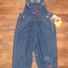 New Toddler Girls Sz 24 M Oshkosh Blue Jean Overalls w/Glitter Hearts