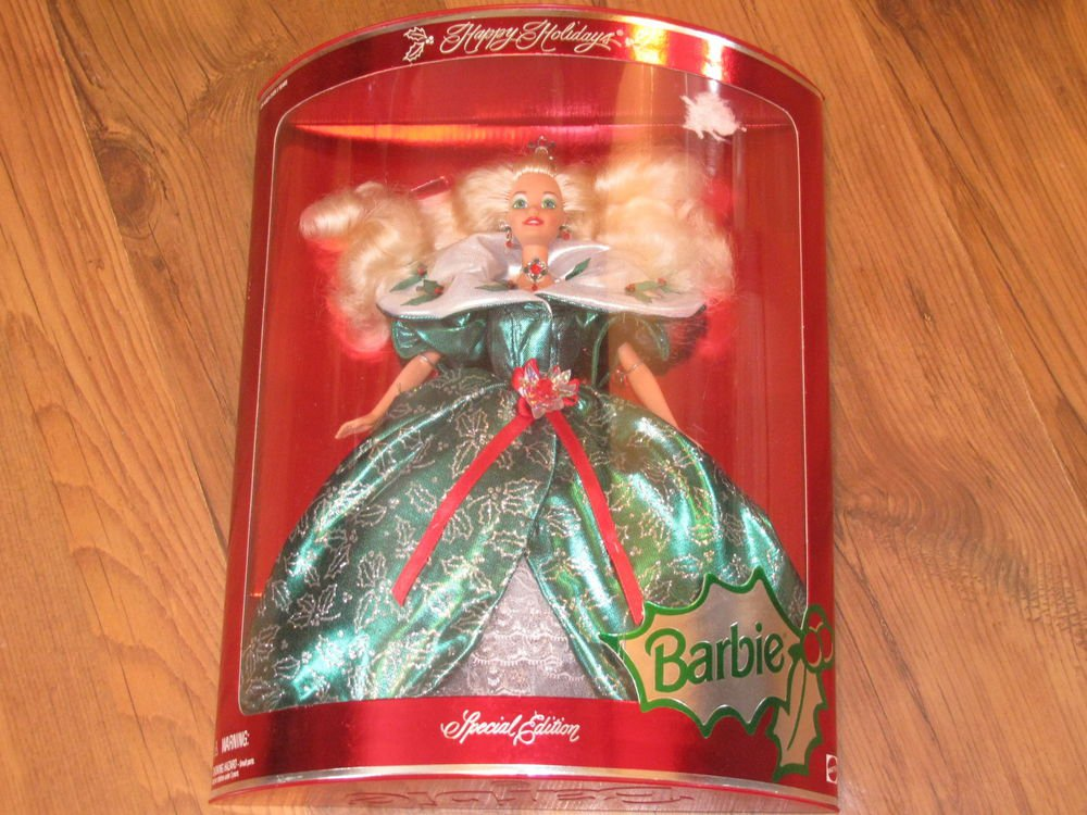 New 1995 Happy Holidays Special Edition Barbie Doll - Green & White Dress
