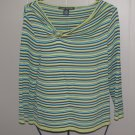 New Womens Sz M Larry Levine Stripe 3/4 Sleeve Top Retail $49