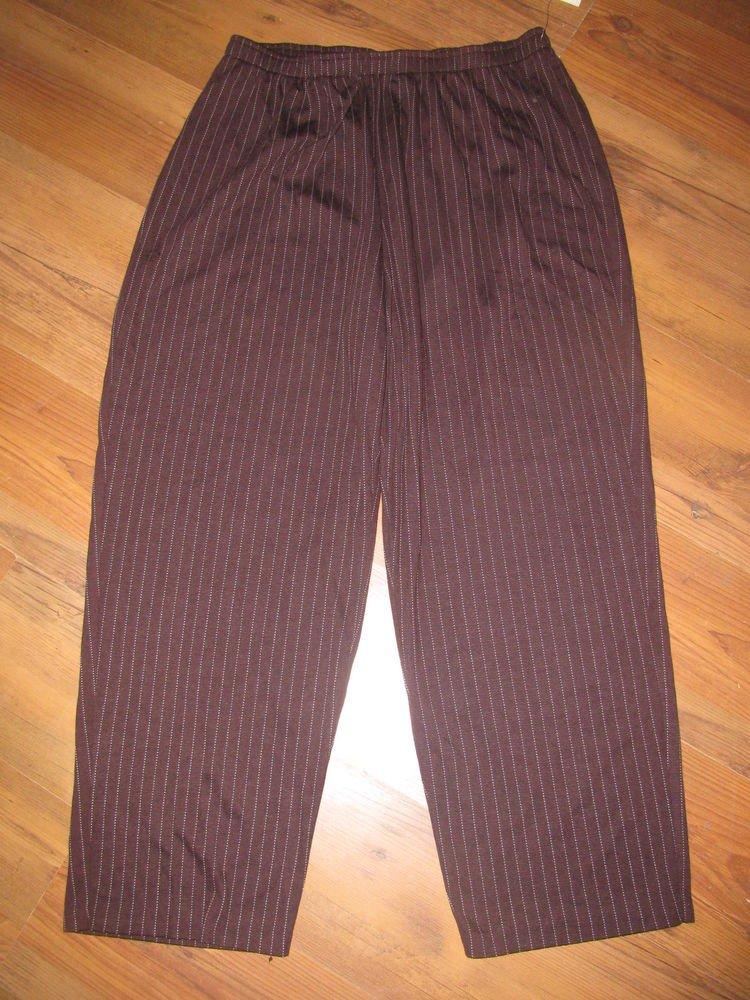 New Womens Sz 1X Eccotoo Brown Pinstripe Pull On Pants