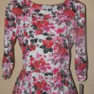 New Womens Sz S NY Collection 3/4 Sleeve Floral Top Retail $44
