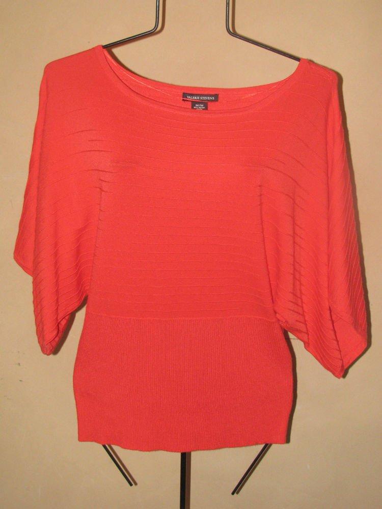 New Womens Sz M Valerie Stevens Coral Short Sleeve Sweater Retails $49