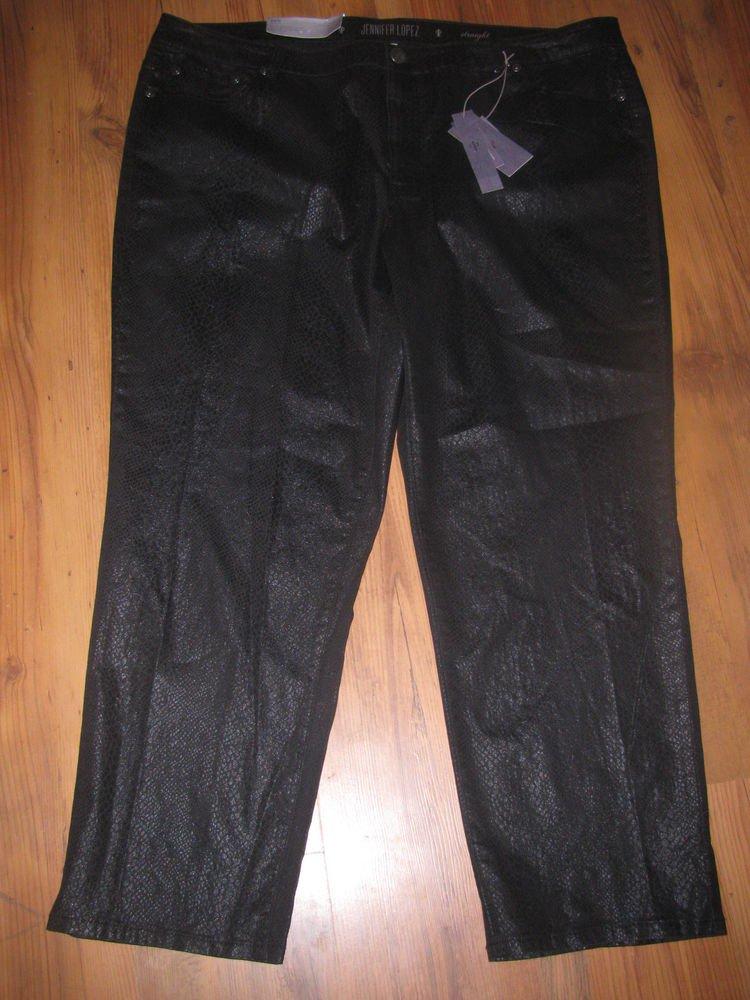 New Womens Sz 24 W Jennifer Lopez Mid Rise Straight Black Pants Retails $70