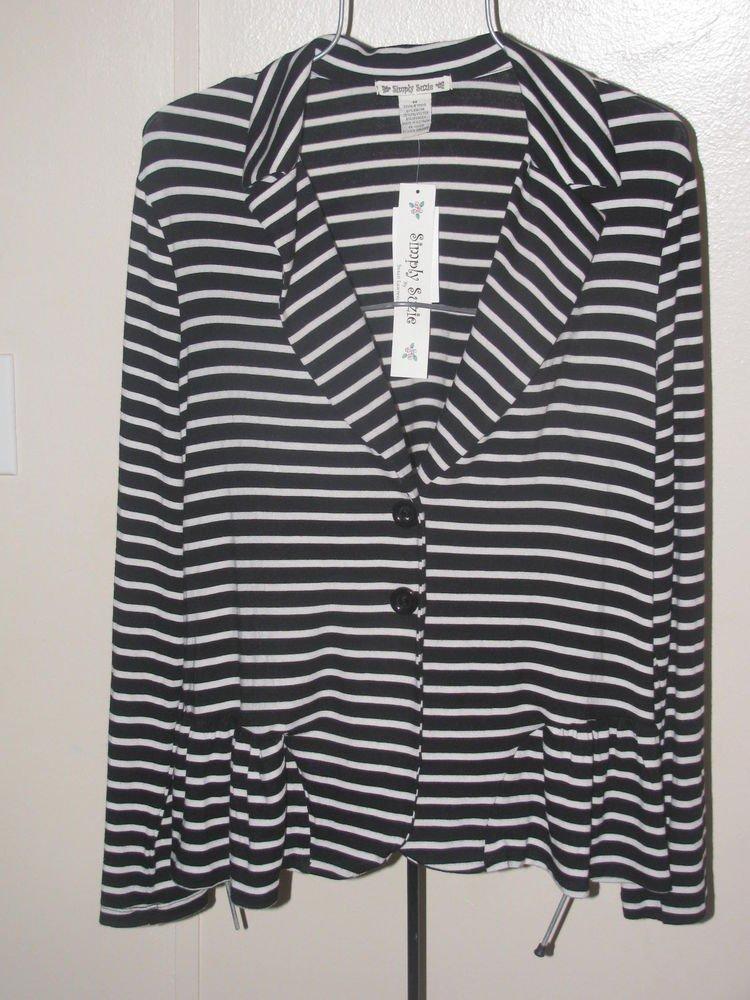 New Womens Sz M Simply Suzie Black/White L/S Top/Jacket $48