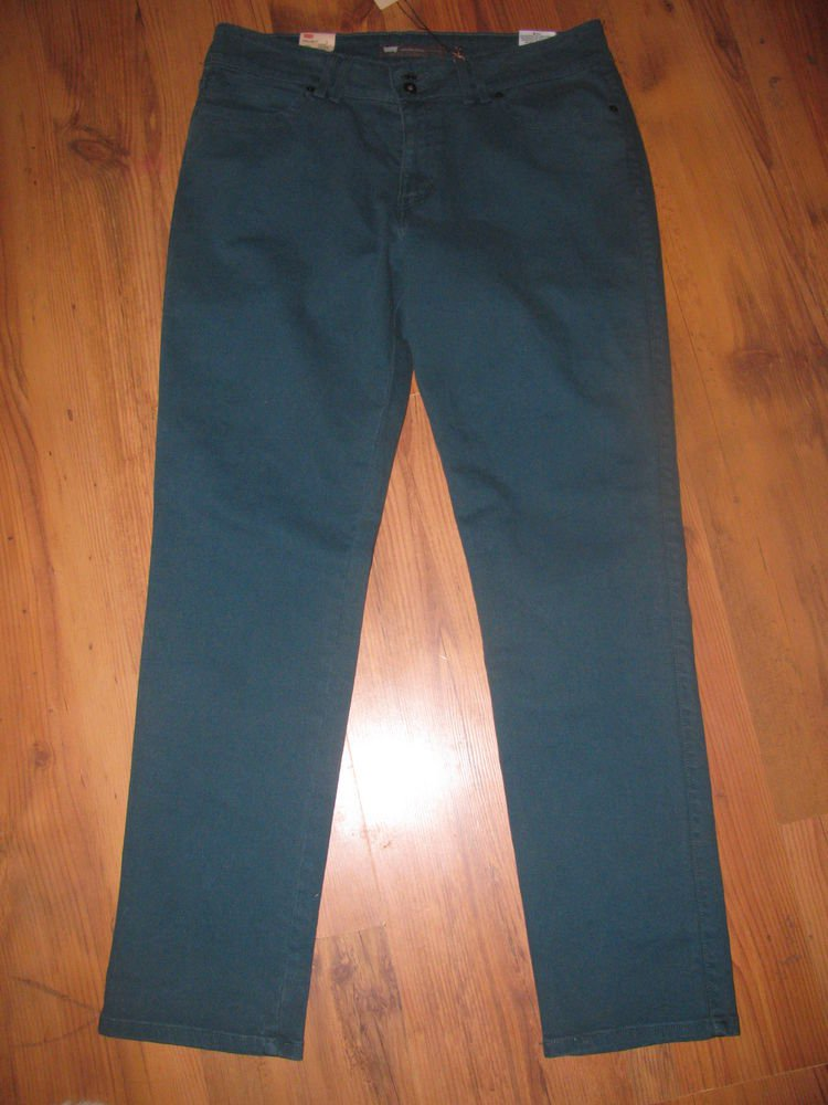 New Womens Sz 14 Levi's Mid Rise Skinny Teal Jeans