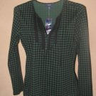 New Womens Sz S Chaps L/S Black/Green Top Retails $49