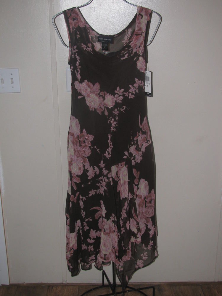 New Womens Sz M Connected Apparel Brown/Pink W/Beading Sleeveless Dress