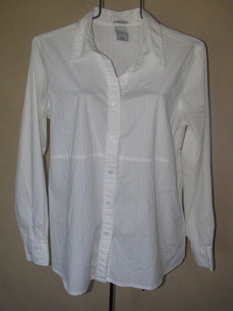 Womens Sz L Old Navy Maternity White L/S Button Front Blouse/Top EUC