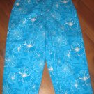 Womens Sz 10 Studio Works Teal/White Floral Capri Pants
