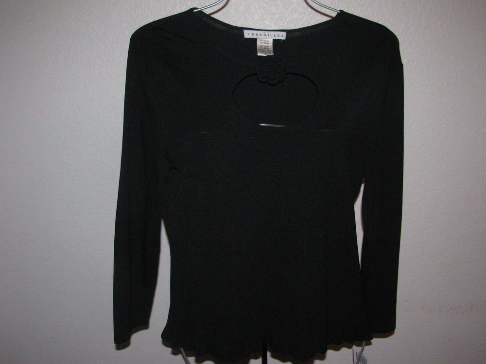 New Womens Sz L Black Versailles 3/4 Sleeve Sweater