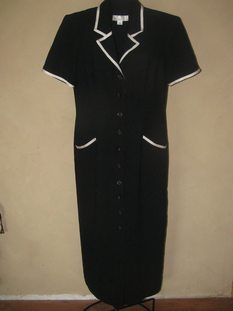 Womens Sz 8 Dressbarn Black/White  S/S Button Front Dress EUC