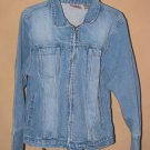 Womens Sz L Bill Blass Front Zip Blue Jean Jacket