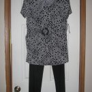 New Womens Sz 12 Danny and Nicole Black/Ivory S/S Pants Top Outfit