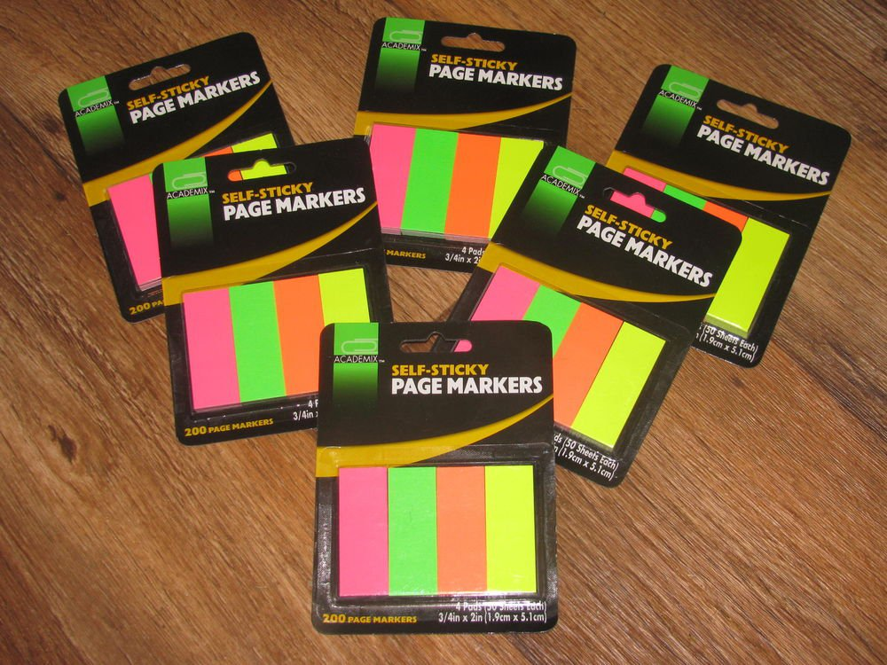 Lot of 6 Pkgs. Academix Self Sticky Page Markers