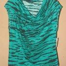 New Womens Sz M Chaus Sport Green/Black Sleeveless Shirt/Top