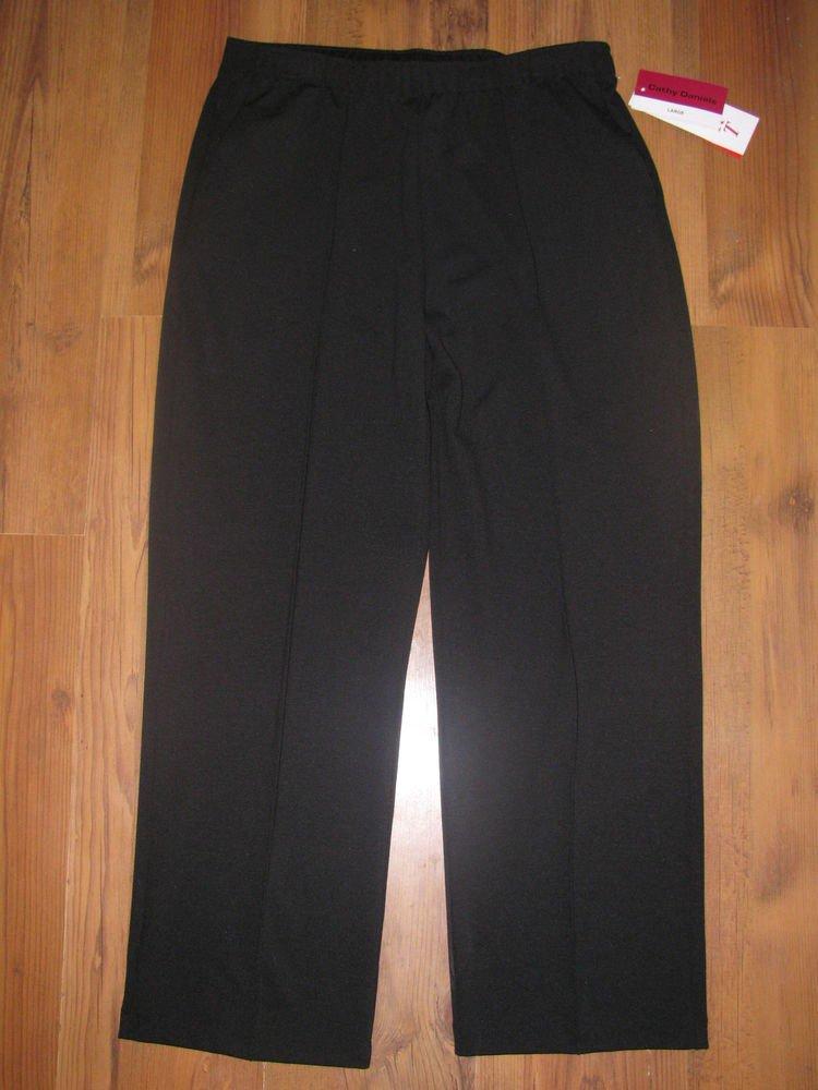 New Womens Sz L/Large Cathy Daniels Black Pull On Knit Pants