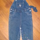 New Toddler Girls Sz 18 M All Mine Blue Jean Overalls w/Embroidery