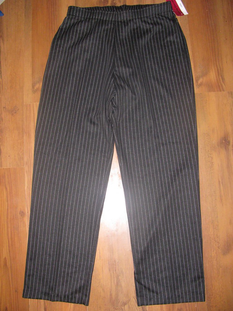 New Womens Sz L/Large Cathy Daniels Black/White Pull On Knit Pinstripe Pants