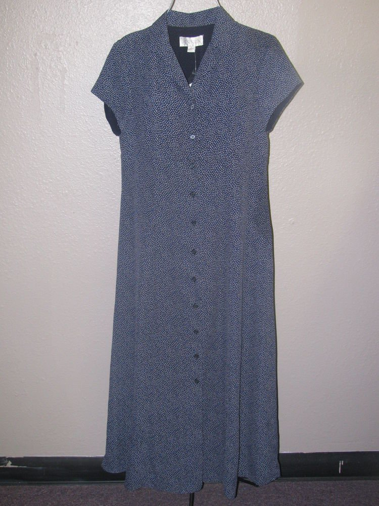 New Womens Sz 10 Casual Corner Annex Button Front Short Sleeve Lined Dress