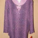 New Womens Sz M Cathy Daniels 3/4 Sleeve Purple Knit Top Retails $48