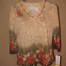New Womens Sz PS S Petite Alfred Dunner 3/4 Sleeve Knit Top Retails $52