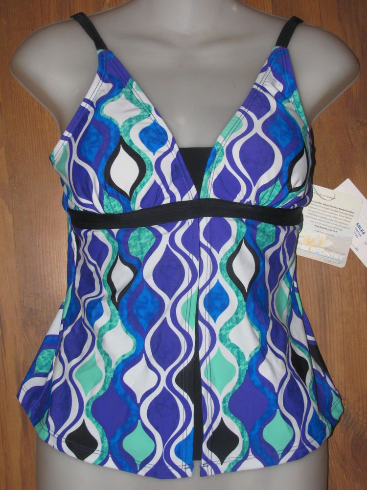 New Womens Sz S Free Country Multi Color Tankini Top