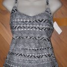 New Womens Sz S Captiva Black/White Tankini Top D Cup