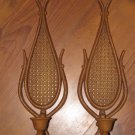 Set of 2 Vintage 1981 Homco Home Interior Wicker Candle Wall Holders