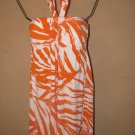 New Womens Sz M Apt. 9 Orange/White Halter Dress $54