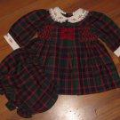 New Baby Girls Sz 3/6 M B.T. Kids Plaid Dress w/Matching Bloomers