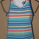 New Womens Sz S Danskin Stripe T-Back Athletic Top w/Shelf Bra