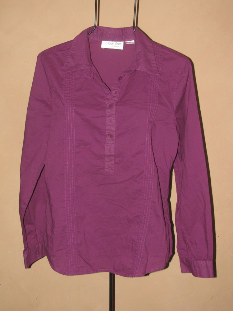 Womens Sz 14 Realcomfort by Chadwick's L/S Purple Blouse Shirt Top EUC