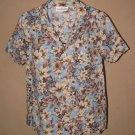 Womens Sz S Cathy Essentials S/S Floral Button Front Shirt/Blouse EUC