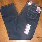 New Girls Sz 14 1/2 Levis Slim Straight Midnight Blue Jeans Bling Glitter Stitch
