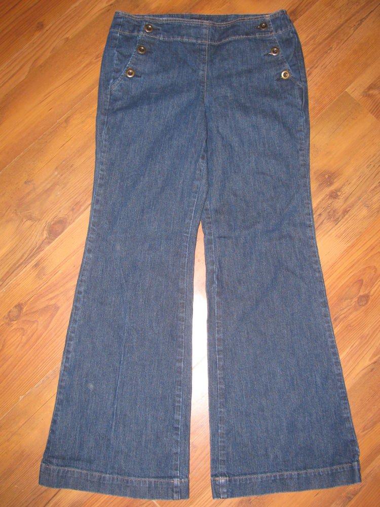 Womens Sz 8 New York & Company Wide Leg Blue Jeans EUC