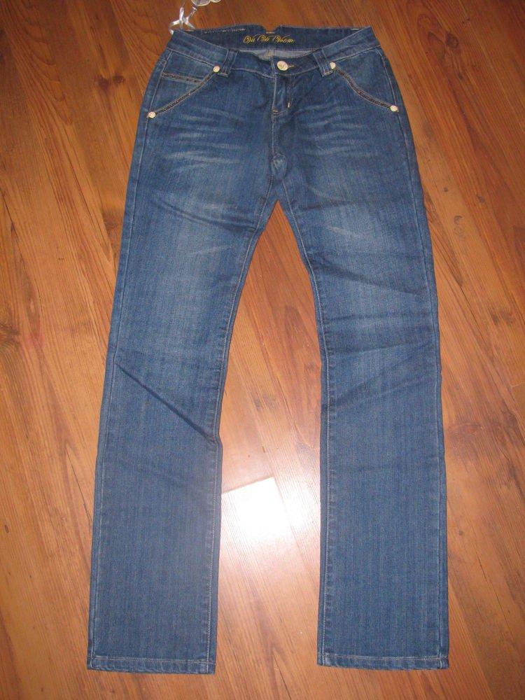 New Womens/Jr Sz 7 Va Va Voom Low Rise Blue Jeans w/Rhinestones