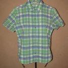 Womens Sz S Fiorlini S/S Button Front Plaid Shirt/Blouse EUC