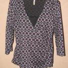 Womens Sz L White Stag 3/4 Sleeve Knit Top EUC
