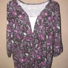 New Womens Sz 1X Carolyn Taylor 3/4 Sleeve Floral Top