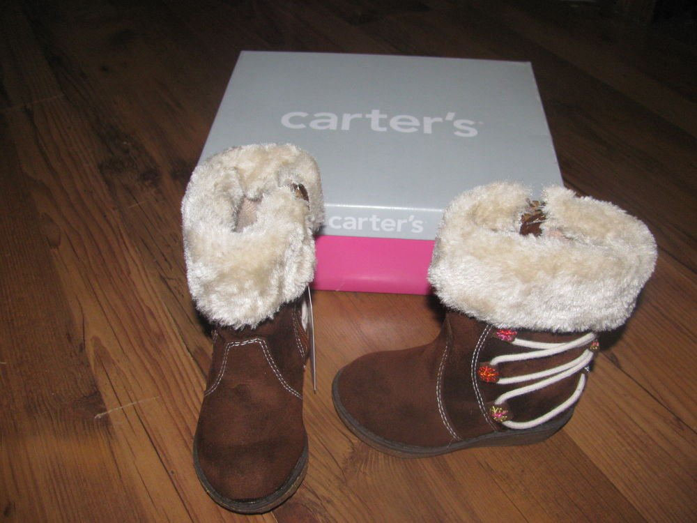 New W/Box Toddler Girls Sz 5 Carter's Imperial Brown/Beige Zip Boots