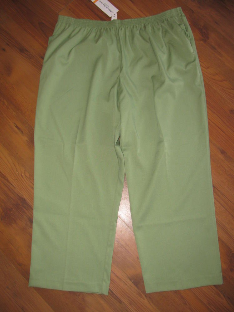 New Womens Sz 24 W Short Alfred Dunner Green Pull On Pants
