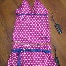New Junior/Jr Sz S U.S. Polo Assn. Pink Polka Dot Tankini Swimsuit