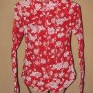 Womens Sz M Fang L/S Red/White Button Front Blouse EUC