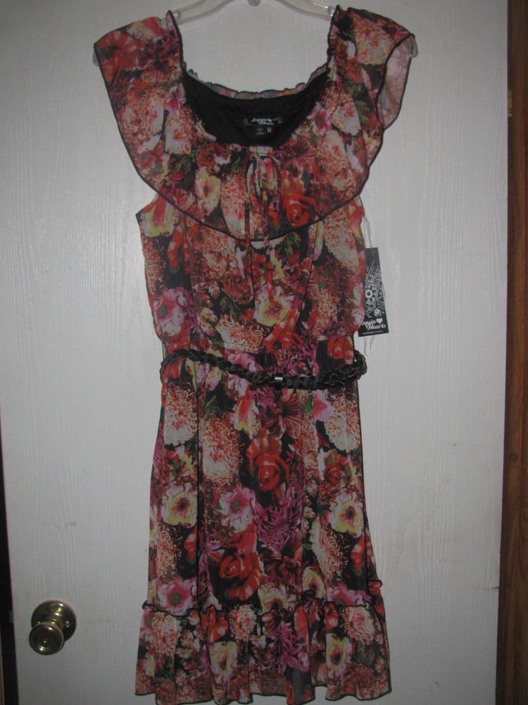 New Junior/Jr. Sz M Sequin Hearts S/S Floral Dress w/Belt