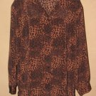Womens Sz 3X Donnkenny Woman Button Front Animal Print Blouse EUC