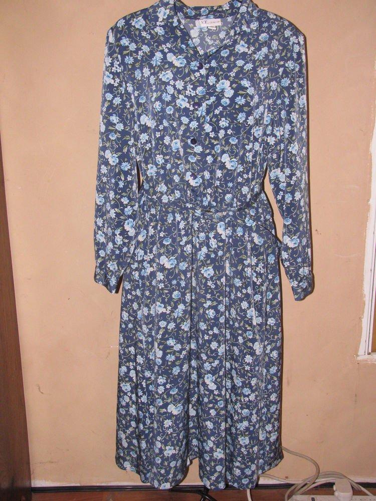 Womens Sz 18 The Tog Shop L/S Floral Dress EUC