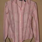 Womens Sz XS New York &Company Stretch Fitted L/S Button Front Blouse EUC